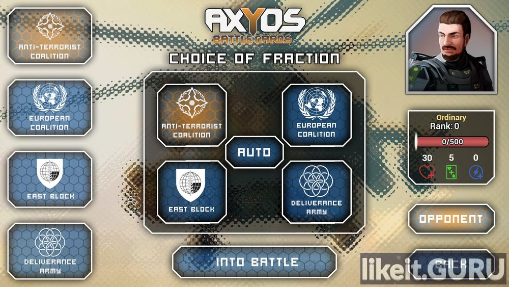 AXYOS: Battlecards game screen