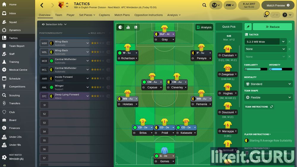 Football Manager 2018 game screen