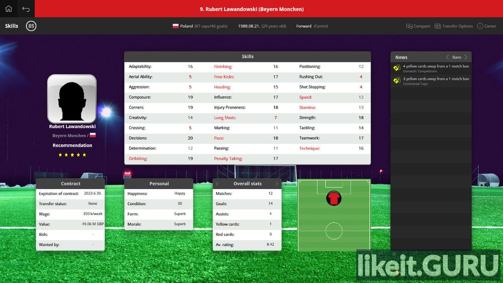 2018 Global Soccer Manager game screen