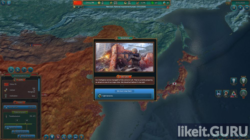 Realpolitiks game screen
