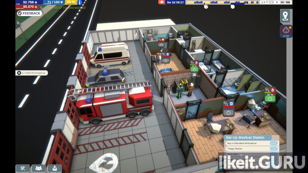 Rescue HQ - The Tycoon game screen