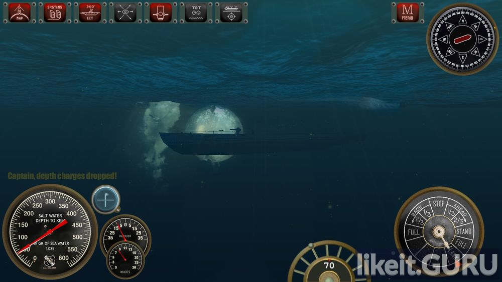 Silent Depth is a 3D Submarine Simulation game screen